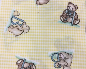 48 Vintage 5 inch Quilt Squares Teddy Bears and Gingham