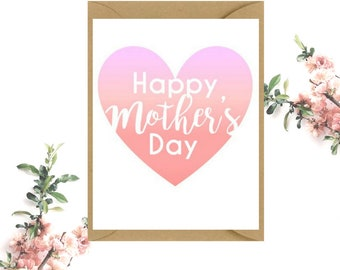 Happy Mother's Day Card | Pink Ombre Love Heart Card | Card for Mum | Card for Mother's Day