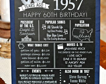 PRINTED 60th birthday board, Back in 1957, What Happened in 1957, 60th Birthday Decorations, Blue, Silver, 60th Party Decor.  Vintage 1957