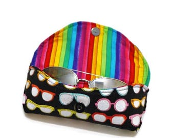Rainbow Sunglasses Case, Hard Sunglasses Case, Black Sunglasses Case, Sunnies Case, Eyeglasses Case, Magnetic Case