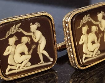 "Beautiful rare Dante ""The Bathers"" Museum Masterpieces vintage cufflinks G5"