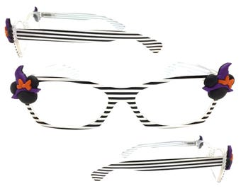 Women's Black and White Stripe 2.0 Strength Halloween Disney Reading Glasses with Hand-Applied Minnie Mouse Witch Embellishments