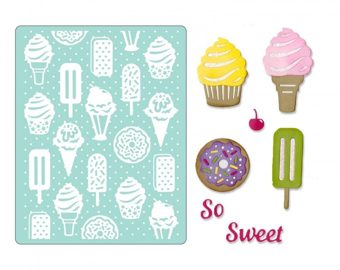 Will ship March 20th - Sizzix Tim Holtz Thinlits Die Set 10PK w/Textured Impressions - Sweet Treats 662755