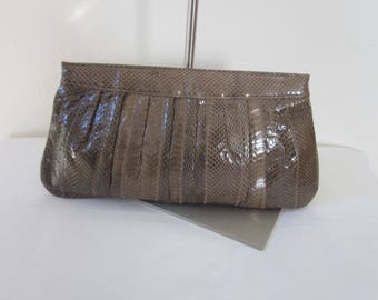 "1980s Large Taupe and Tan Snakeskin Clutch by ""SYLVIA"""