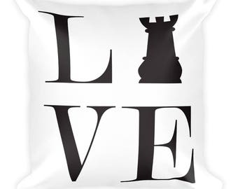 Square Pillow - Live Love Chess Black Rook Pillow