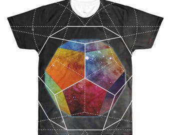 All-Over Printed T-Shirt - Space Geometry Rainbow Hex All-Over T-Shirt