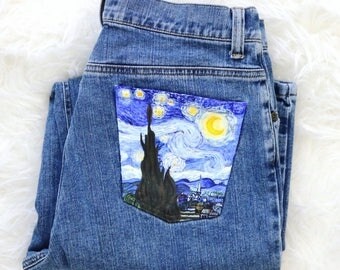 Hand-painted jeans: The Starry Night by Vincent Van Gogh