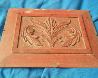 Vintage Red Painted Carving