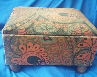 Vintage Upholstered Stool Work Box.