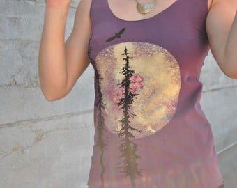 Bamboo Tank, Aubergine Tank, Moon Print Tank Top, Moon and Sitka Trees Print Top, Purple Tank Top