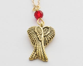 Angel Wings Necklace, Gold Wing Necklace, Angel Necklace, Bridesmaid Gift, Gold Bird Wing Charm Necklace. Angel Jewelry. Mother's Day Gift