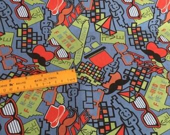 Pretty Graffiti glasses/beard Terry cloth Cotton DIY Fabric  50*170 cm  cotton knit 1/2 yard