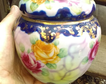 Nippon Covered Jar Porcelain Vintage 1940's