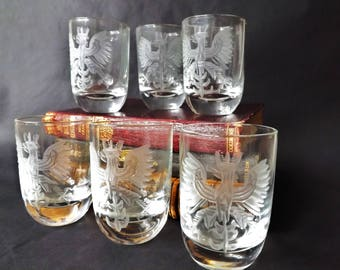 crystal whiskey shot glasses set 6 vintage etched bavarian eagle scotch glass small whisky - Scotch Glass