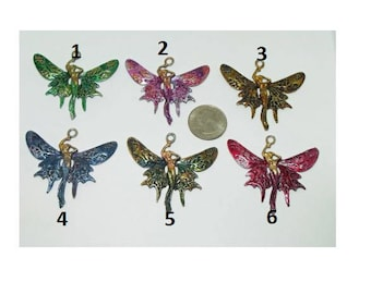 Butterfly Fairy Princess Pendant,Lead Free Nickel Free, Cord/Hand Made-Hand Painted/Renaissance/