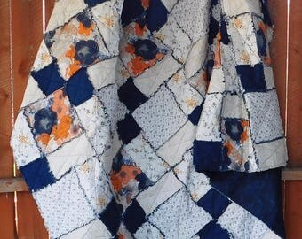 Homemade Quilt - Rag Quilts - Lap Quilt - Rag Quilt - Rag Bedding - Double Size Quilt - Throw Quilt - Navy and Orange