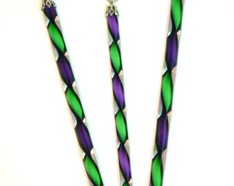 Handblown Art Glass Ribbon Icicles, Deep Purple and Green Harlequin with Black edge, Matched Set