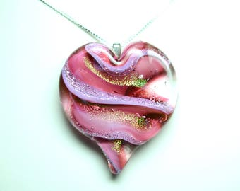 Lampworked Ribbon Stardust Art Glass Heart Pendant, Rose with Gold and Silver Stardust