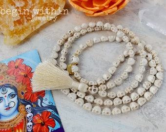 Skull Mala Beads | 108 Mala Beads | Skull Necklace | Goddess Kali Mala | Kali Necklace