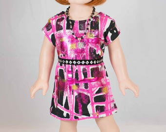 American Girl or 18 Inch Doll DRESS Tee Shirt Tunic in Metallic Pink Black Gold and Silver Print with Belt NECKLACE and SANDALS Option