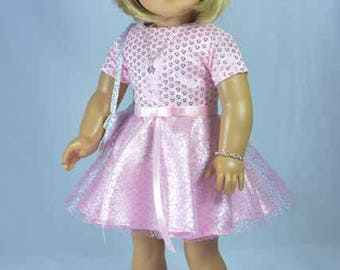 American Girl or 18 Inch Doll DRESS in Pink Satin Tulle with Two Belts PURSE Necklace Bracelet Hair Bow and SANDALS