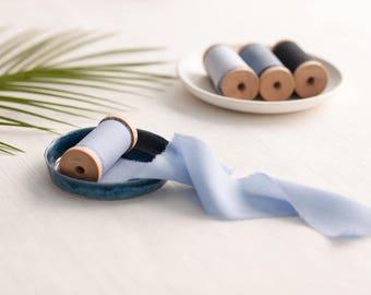 Ruban de soie ciel, ruban de soie, teintée à la main ruban, Bouquet ruban, ruban vintage, emballage cadeau, emballage floral, ruban, ruban teintée à la main