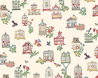 MODERN dolls house wallpaper unusual peachy pink bird cages (LANDSCAPE ONLY) - quality paper from a well established company!