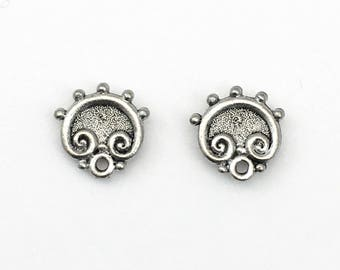 1 pair (2 pieces) of pweter  earring post, with back stopper  11mm #FIN E 094