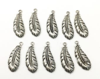 10 feather charms silver tone 13mm x  36mm #CH 452