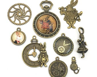 9 Alice in wonderland steampunk charms and  glass pendant collection, bronze tone,12 mm to 40mm  #ENS B 090