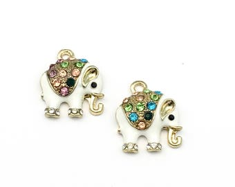 2  elephant gold and enamelwith stones charms,15mm # CH 058