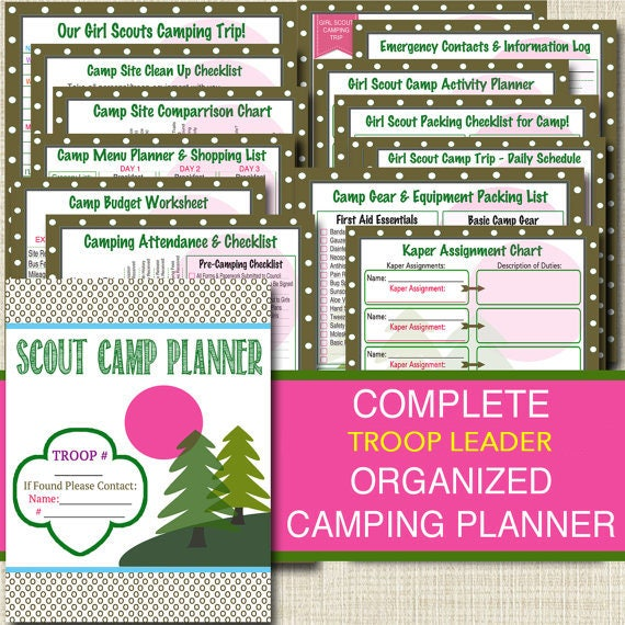 Campout Planner Pack Instant Download Troop Leader Forms