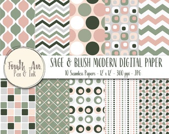 Sage Digital Paper, Sage, Blush, Pink, Gray, Modern, Digital Paper, Digital Paper Pack, Digital Background, Digital Wallpaper