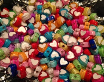 Summer Sale Neon Heart Color Mix Resin Beads