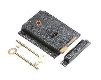 Rustic Black Iron Rim Lock - Kirkpatrick - Door Lock- Latch - Deadlock - Key Escutcheon - Door Knob Lock Set 1204