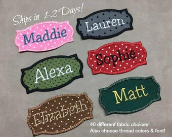CUTE NAME PATCH - Back Pack Patch, Diaper Bag, Applique, Iron On, Style 17, Girls Patch, Boys Patch, Choose Fabric & Thread, *Ship 1-2 Days*
