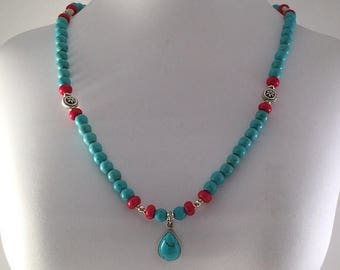 CIJ Turquoise Beaded Necklace, Gift for Her, Western, Southwest, Tribal, Ethnic, Cowgirl, Native American, Natural Stone, Bohemian