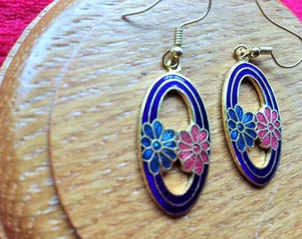 cloisonne cut out oval earrings with blue and red flower detail