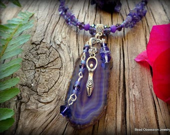 Goddess Necklace; Amethyst Necklace; Purple Necklace; Boho Necklace; Hippie Necklace; Wiccan Necklace; Agate Necklace; Australian Seller