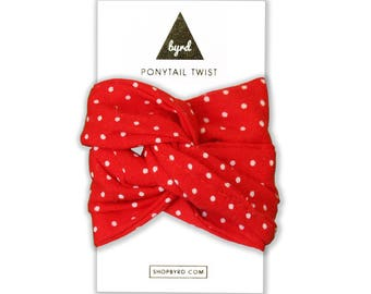 Red Polka Dot Ponytail Twist