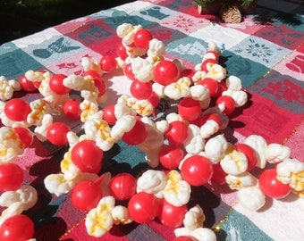 Vintage Blowmold Popcorn and Cranberries Christmas Tree Garland 8'
