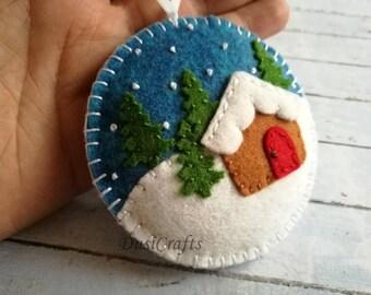 PRE ORDER / Felt Christmas ornament - Christmas village snow globe ornament, Gingerbread house ornament, tree decoration, gift topper