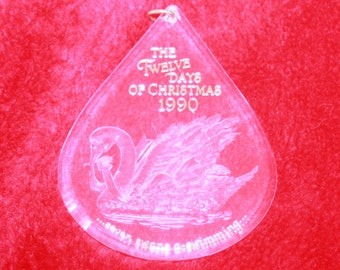 Hallmar Twelve Days of Christmas Seven Swans A Swimming 7th in series Acrylic ornament Vintage 1992
