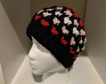 Jill - messy bun beanie = pony tail hat = Hearts = black, red, pink, white