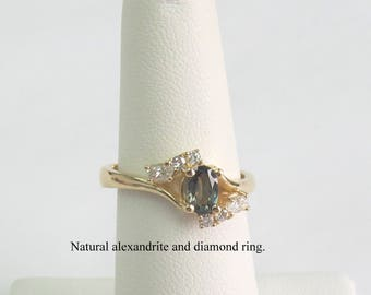 Natural Alexandrite ring in 14 k yellow gold.
