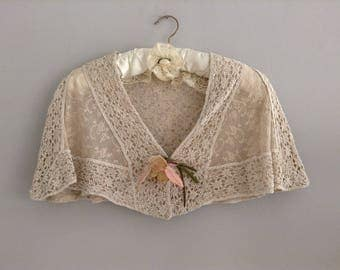 Antique Cream Crochet And Lace Caplet / Shawl With Silk  Flowers