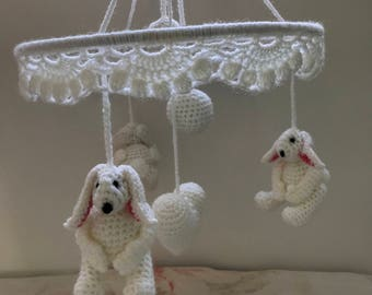 Rabbit baby boy or girl crib musical mobile, nursery decor. With rabbits, heart and two different size ball's