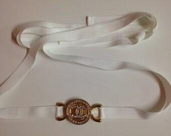 Designer inspired , handmade 3 in 1 headband/choker/belt with rinestones cc logo gold tone