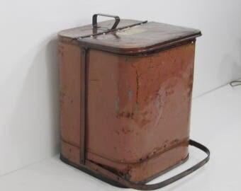 Industrial Waste Basket, Vintage Trashcan, Industrial Basket, Flip top Can,Red Protectoseal Shop Trashcan