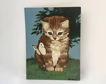 Vintage Paint By  Numbers, Kitten Print, lined by the Artist, Unframed